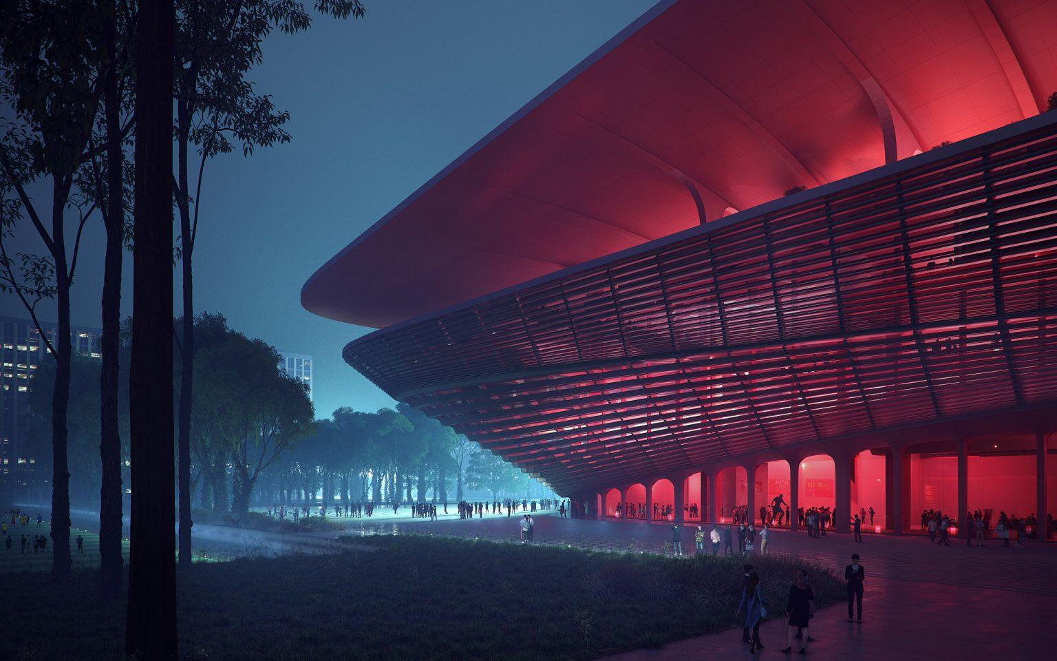 Desain Megah Stadion Sepak Bola di Tiongkok