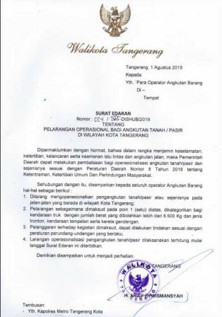 Pemkot Tangerang Larang Truk Bertonase Berat Melintas