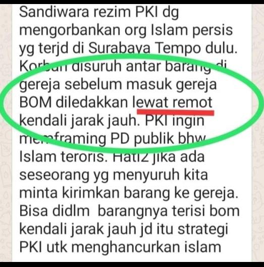 [Cek Fakta] Bom Gereja di Makassar Dikendalikan Jarak Jauh  oleh PKI? Ini Faktanya