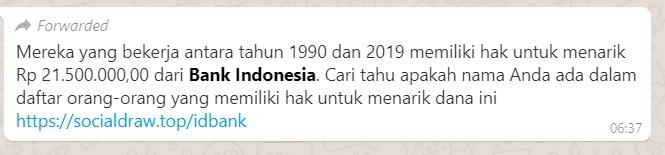[Cek Fakta] Pekerja dari Tahun 1990-2019 Bisa Tarik Tunai Rp21 Juta dari Bank Indonesia ? Ini Faktanya