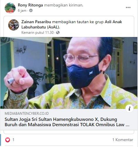 [Cek Fakta] Sri Sultan Dukung Buruh Tolak UU Ciptaker Omnibus Law? Ini Faktanya