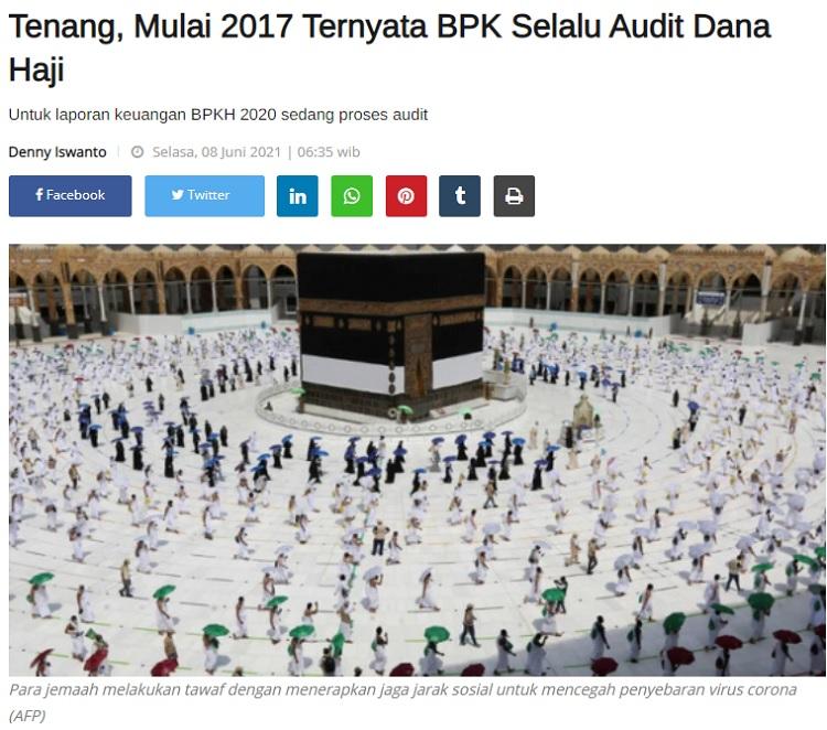 [Cek Fakta] Dana Haji Tidak Diaudit karena Uangnya Habis? Ini Faktanya