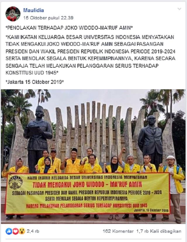 [Cek Fakta] UI Tidak Mengakui Jokowi-Ma'ruf sebagai Presiden dan Wakil Presiden?