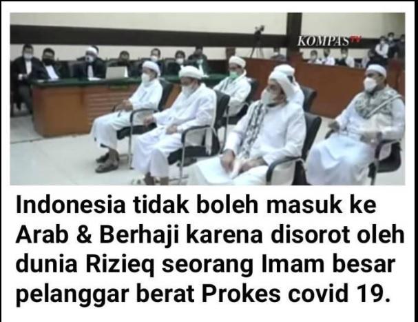 [Cek Fakta] Indonesia Batal Berhaji karena Disorot Dunia Pelanggar Prokes Terbesar? Ini Faktanya