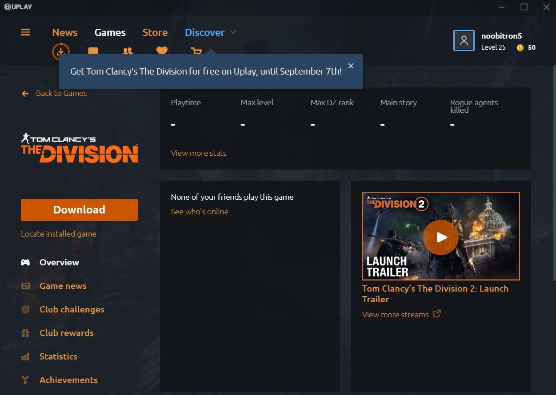 Cara Download Game Gratis The Division 1 dari Ubisoft
