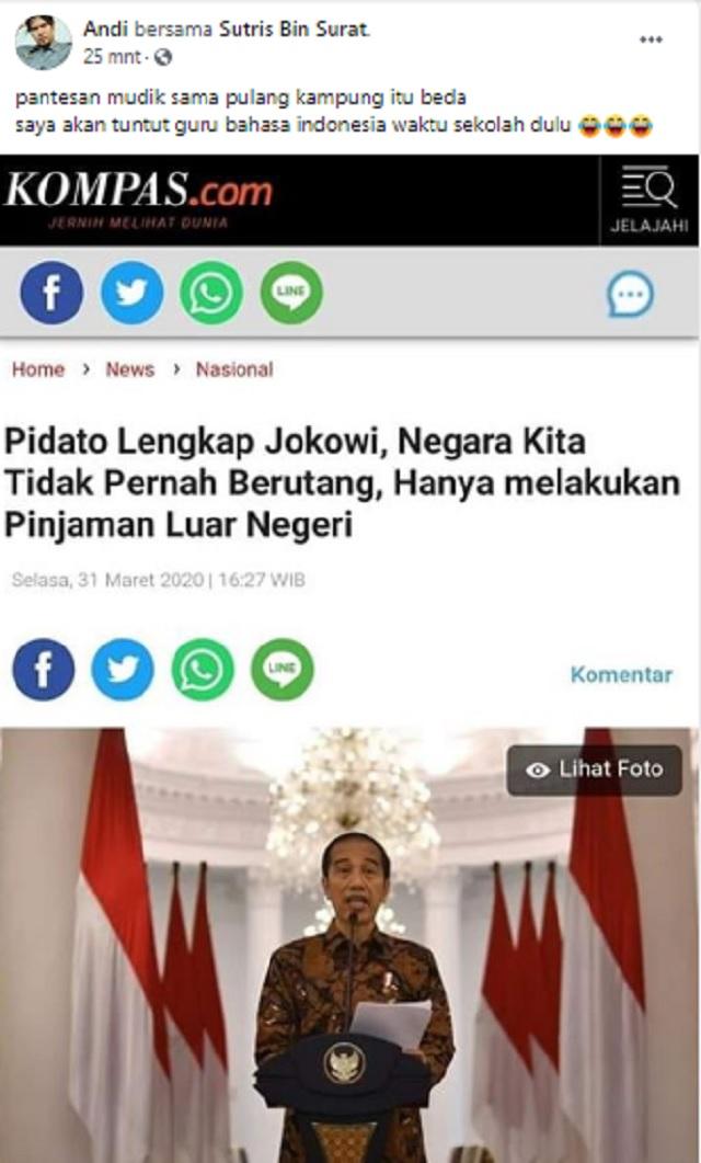 [Cek Fakta] Jokowi Bantah Indonesia Pernah Berutang, hanya Pinjaman Luar Negeri? Ini Faktanya