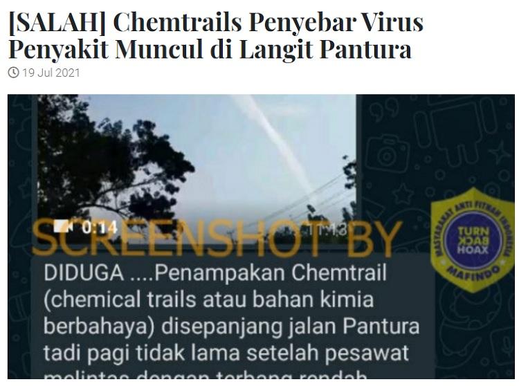 [Cek Fakta] Penampakan Asap ,<i>Chemtrails</i> di Langit Sejumlah Kota Sebar Virus? Ini Faktanya