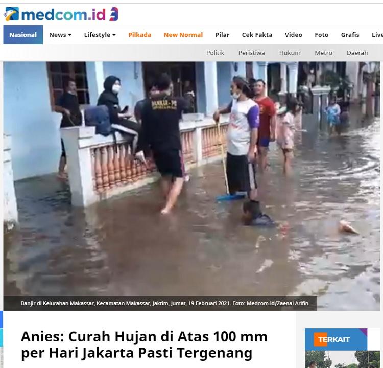 [Cek Fakta] Anies Sebut Solusi Banjir di Jakarta adalah Menunggu Musim Kemarau? Ini Faktanya