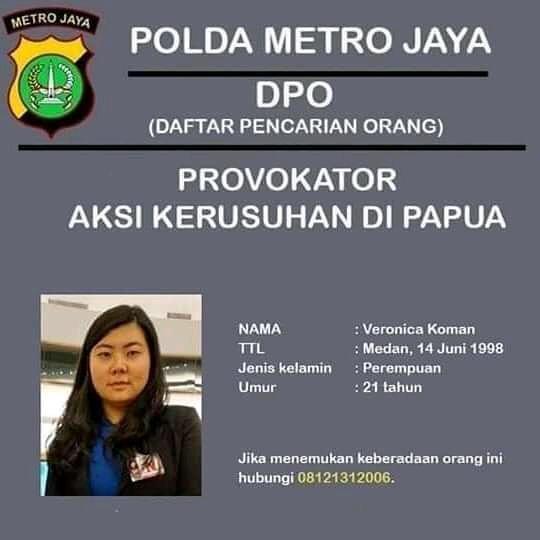 Selebaran DPO Veronica Koman Hoaks