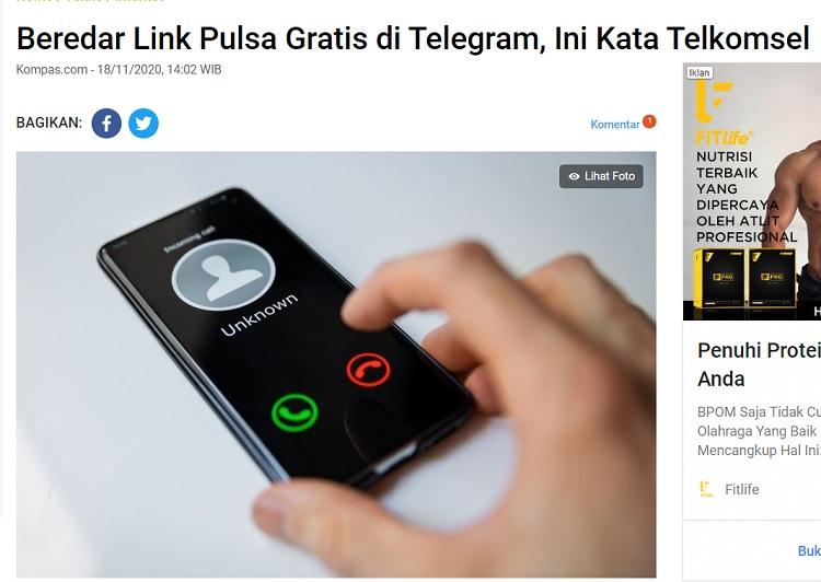[Cek Fakta] Akun Telegram Telkomsel Bagi-Bagi Pulsa Gratis? Ini Faktanya