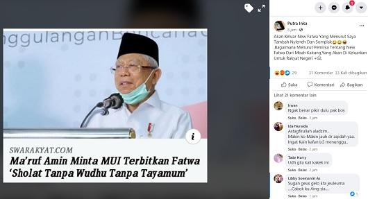 [Cek Fakta] Ma'ruf Amin Minta MUI Terbitkan Fatwa Salat Tanpa Wudu dan Tayamum? Ini Faktanya