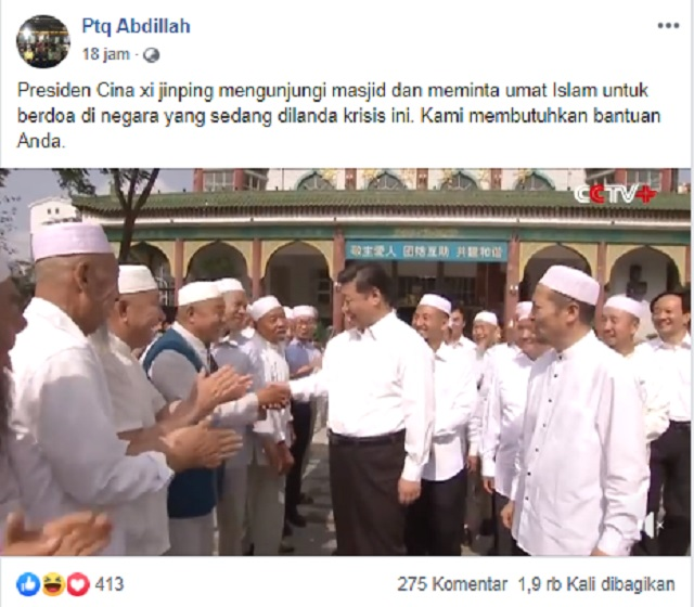 [Cek Fakta] Presiden Xi Jinping Masuk Masjid dan Minta Doa Umat Islam Atas Krisis yang Terjadi di Tiongkok? Ini Faktanya