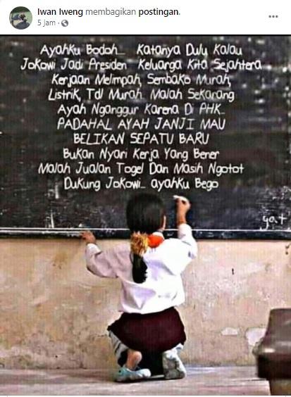 [Cek Fakta] Foto Anak Kecil Mengeluh ke Jokowi di Papan Tulis? Ini Faktanya