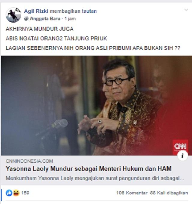 [Cek Fakta] Menteri Yasonna Akhirnya Mundur usai Didemo Warga Tanjung Priok? Ini Faktanya