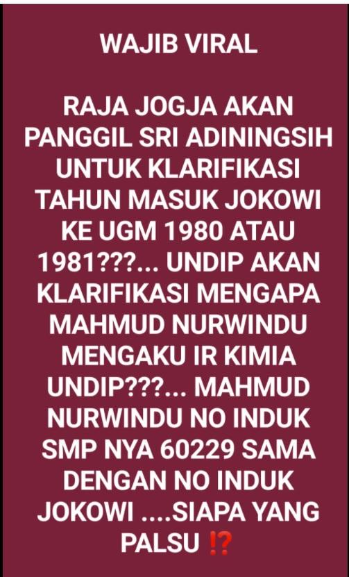 [Cek Fakta] Sri Sultan akan Periksa Keaslian Ijazah Jokowi dari UGM? Ini Faktanya